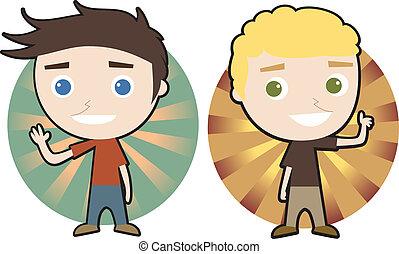 Happy guys - Vector illustration of two happy guys