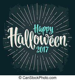 Happy Halloween 2017 calligraphy lettering. Bat flying with scary face