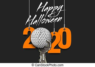 Happy Halloween. Numbers 2020 year hanging on strings and zombie hand is holding a golf ball.  Pattern for banner, poster, greeting card, flyer, party invitation. Vector illustration