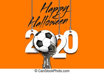 Happy Halloween. Numbers 2020 year hanging on strings and zombie hand is holding a soccer ball.  Pattern for banner, poster, greeting card, flyer, party invitation. Vector illustration