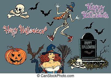 Happy Halloween a collection of characters. Stickers skeleton