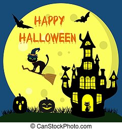 Happy Halloween. A Halloween cat in a witch hat flies on a broomstick against the full moon at night. Witch Castle, two Halloween pumpkins, volatile vampires and stars. Vector, flat style, cartoon.