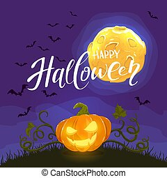 Happy Halloween and Pumpkin on Night Background with Moon and Bats