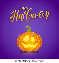 Happy Halloween and Pumpkin on Purple Background