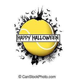 Happy halloween and tennis ball