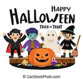 Happy Halloween and Trick or Treat Party. Children in colorful costumes and pumpkins with candy.Template for advertising brochure.