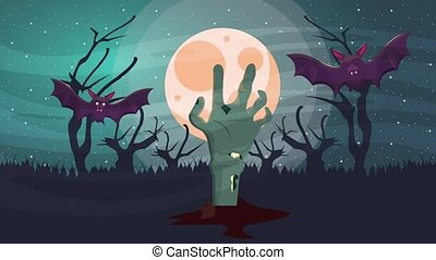 happy halloween animated scene with bats flying and death ...