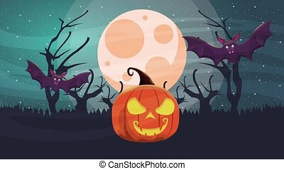 happy halloween animated scene with bats flying and pumpkin...