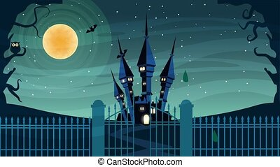 happy halloween animated scene with castle in cemetery ,4k ...