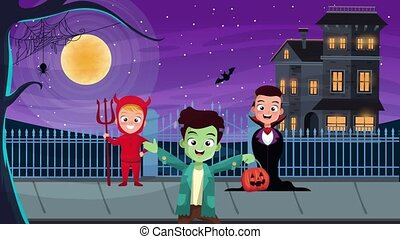 happy halloween animated scene with costumed kids and ...