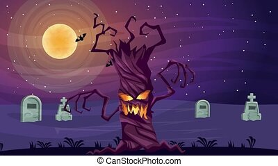 happy halloween animated scene with enchanted tree in ...