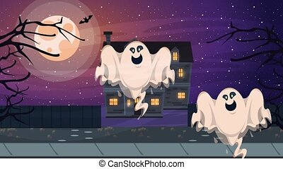happy halloween animated scene with ghost and haunted house...
