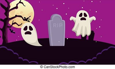 happy halloween animated scene with ghost in cemetery ,4k ...
