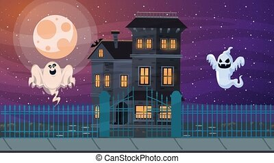 happy halloween animated scene with ghosts in haunted house...