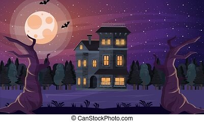 happy halloween animated scene with haunted house at night