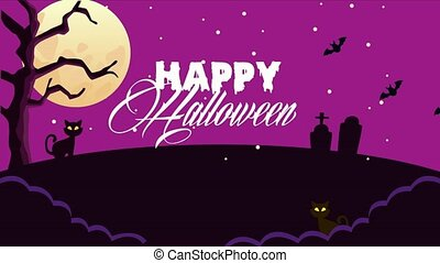 happy halloween animated scene with little cat in cemetery ,...