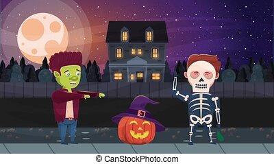 happy halloween animated scene with pumpkin and haunted ...