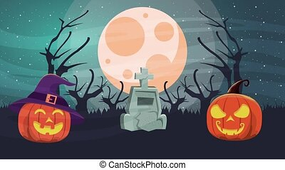 happy halloween animated scene with pumpkins in cemetery ,4k...