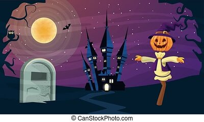 happy halloween animated scene with scarecrow and castle in ...