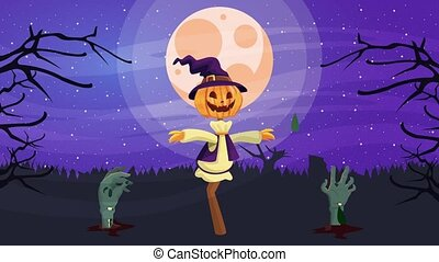 happy halloween animated scene with scarecrow and death hands ,4k video animation