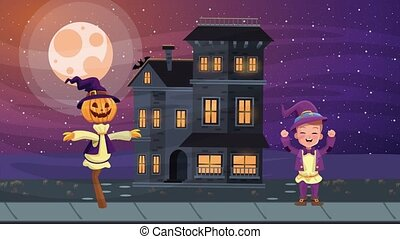 happy halloween animated scene with scarecrow and haunted ...