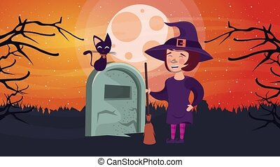 happy halloween animated scene with witch in cemetery ,4k ...