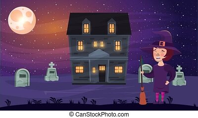 happy halloween animated scene with witch in haunted house ,...
