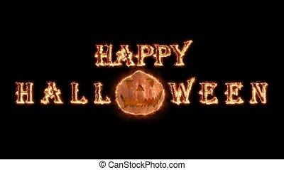 Happy Halloween animation at night with burning fire. Black background