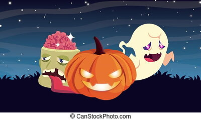 happy halloween animation of pompkin with ghost and zombie head