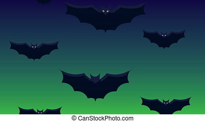 happy halloween animation with bats flying