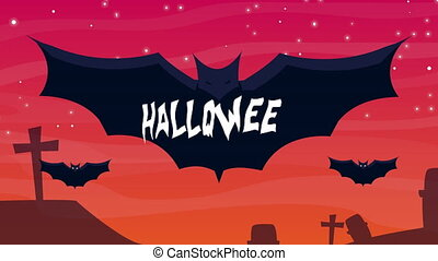 happy halloween animation with bats flying in cemetery ,4k ...