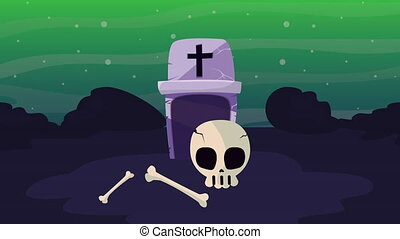 happy halloween animation with cemetery tomb ,4k video ...