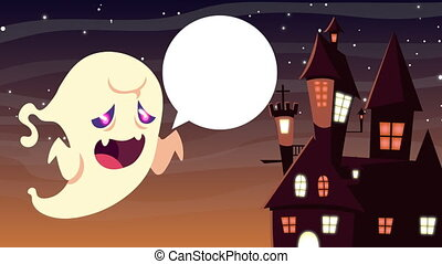 happy halloween animation with ghost and haunted castle ,4k ...