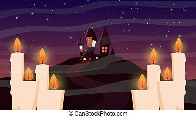 happy halloween animation with haunted castle and candles ,...