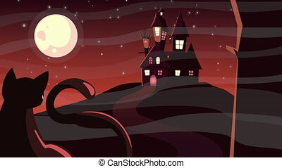 happy halloween animation with haunted castle and cat ,4k ...