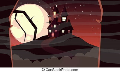 happy halloween animation with haunted castle and moon ,4k ...