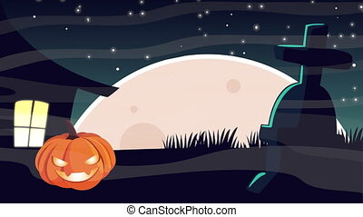 happy halloween animation with pumpkin in cemetery ,4k video...