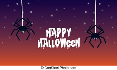 happy halloween animation with spiders hanging ,4k video ...