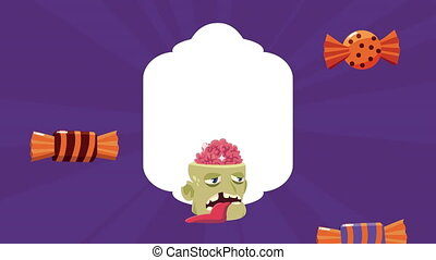 happy halloween animation with zombie head and candies