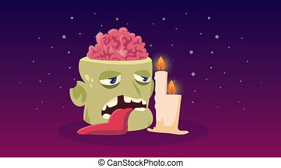happy halloween animation with zombie head and candles
