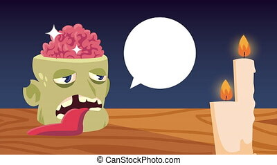 happy halloween animation with zombie head speaking and candles