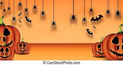 Happy Halloween Background, Pumpkin, Bat, and spider Background