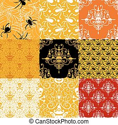 Happy Halloween background. Set of seamless patterns