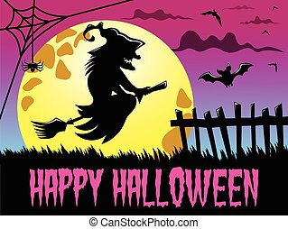 Happy Halloween background silhouette flying witch big full moon