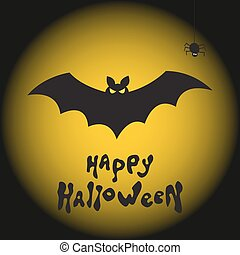 Happy Halloween background with bat, spider and moon.