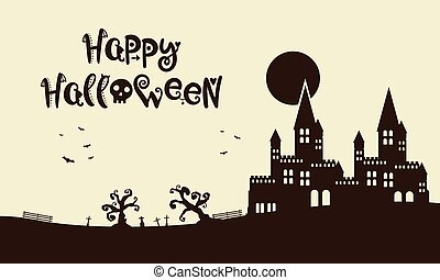 Happy Halloween background with castle