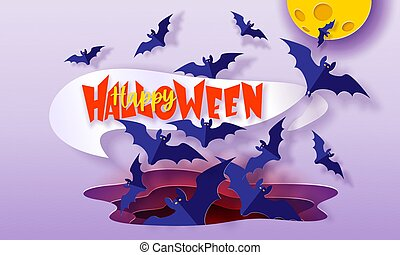 Happy Halloween background with flying bats. Modern paper cut style.