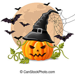 Happy Halloween background with pumpkin and bats Vector illustrations