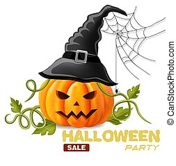 Happy Halloween background with pumpkin face Vector illustrations