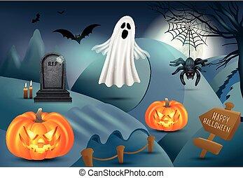 Happy Halloween background with pumpkin, ghost, gravestone, spider